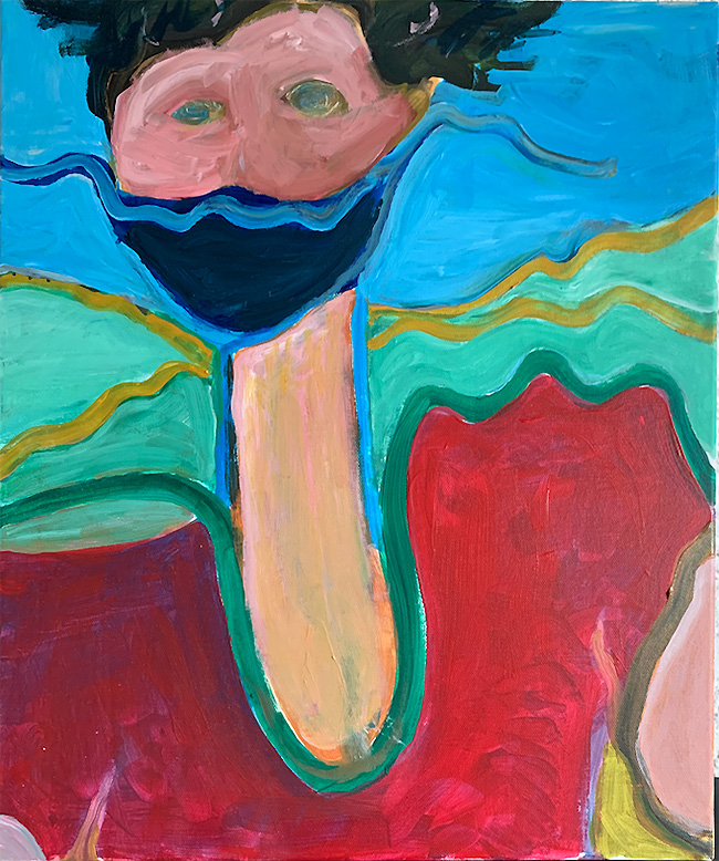 painting by giles denmark mitchell - lady with mask - 2020